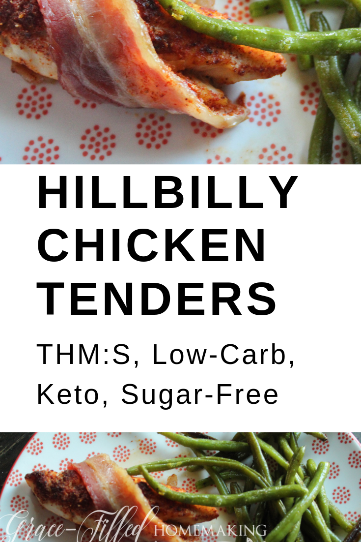 Hillbilly Chicken Tenders are a great mix of sweet, spicy and savory! A brown-sugar inspired spice rub tops crispy bacon for a decadent low-carb,keto, THM:S dish.