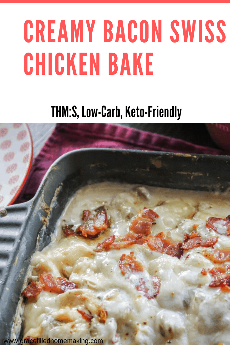 My Creamy Bacon Swiss Chicken Bake is the perfect family-friendly casserole! It features juicy chicken smothered in a creamy sauce. It's THM:S and low-carb.