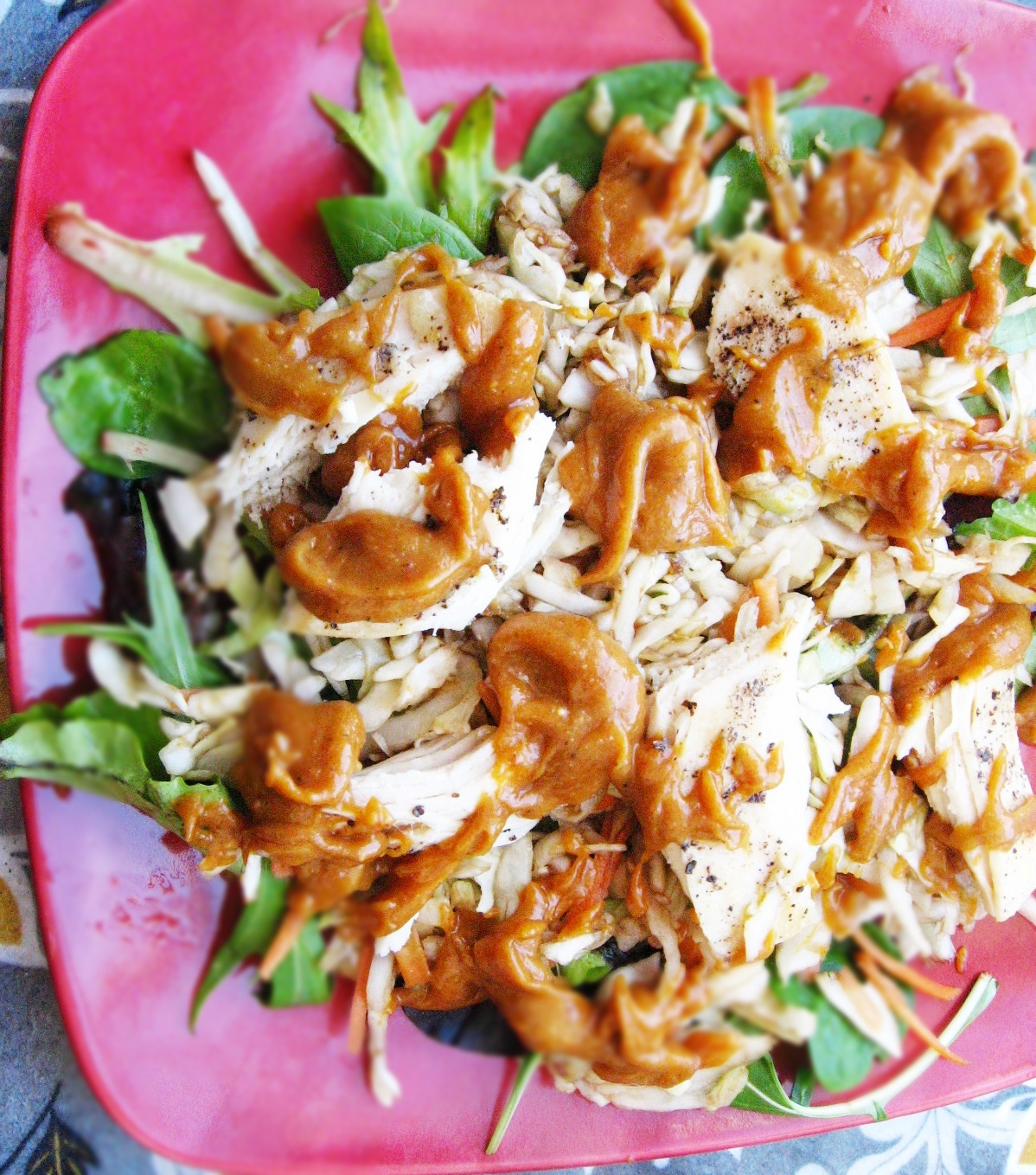 Asian Chicken Salad with Spicy Sweet Peanut Dressing