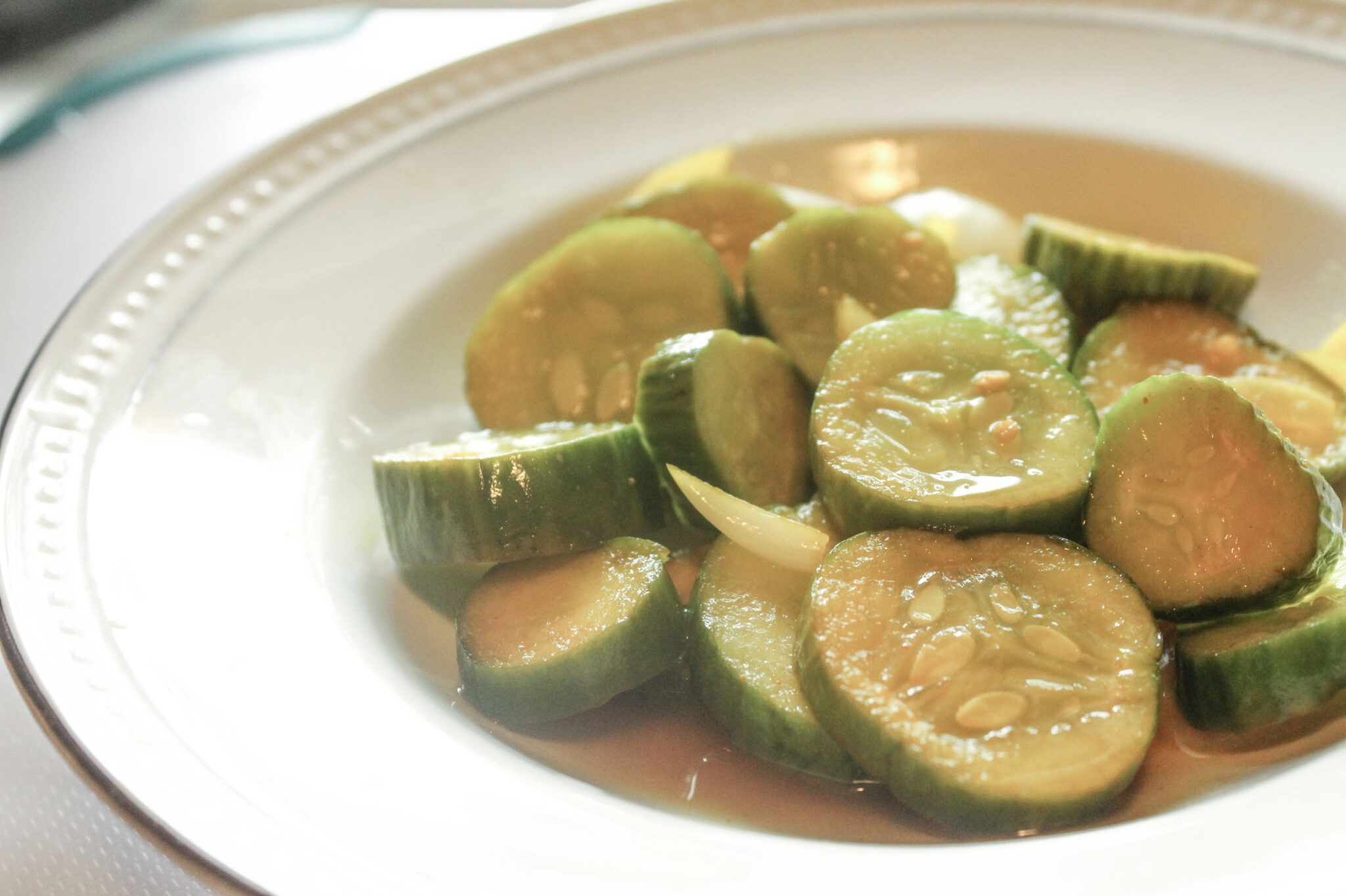 Bread and Butter Refrigerator Pickles (Sugar-Free, THM:Fuel Pull)