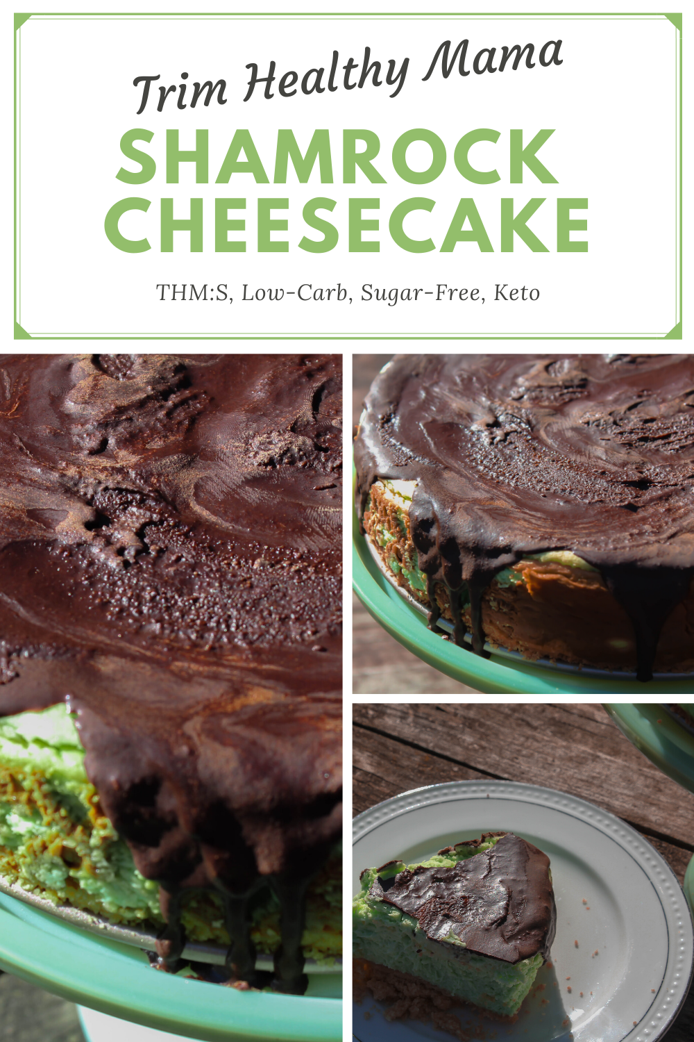 My Shamrock Cheesecake is the perfect way to celebrate St. Patrick's Day! A minty cheesecake with a delectable chocolate topping. What could be better?