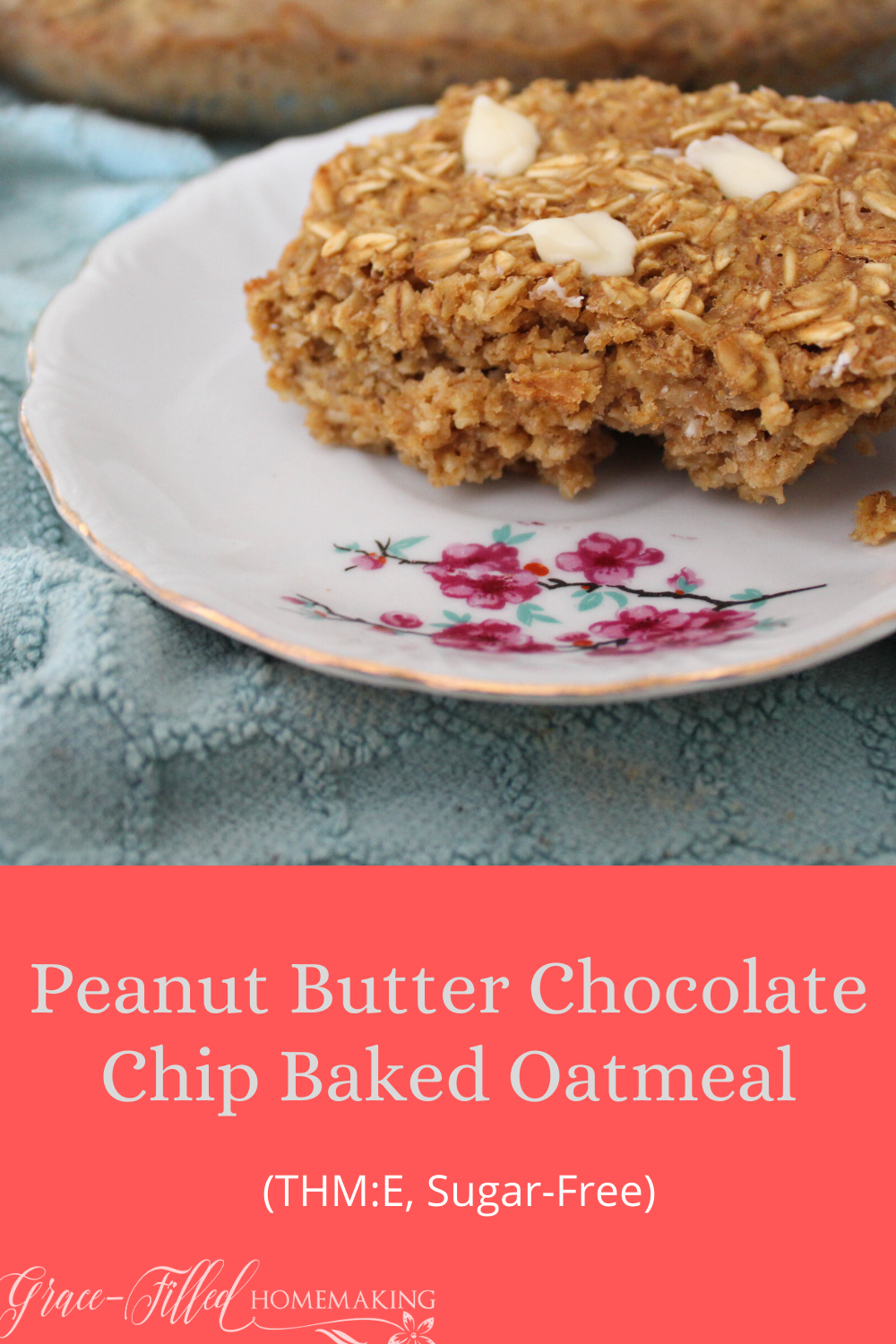 "This Peanut Butter Chocolate Chip Baked Oatmeal is one of my family's favorite ways to jazz up a staple. It's a Trim Healthy Mama ""E"" and sugar-free."